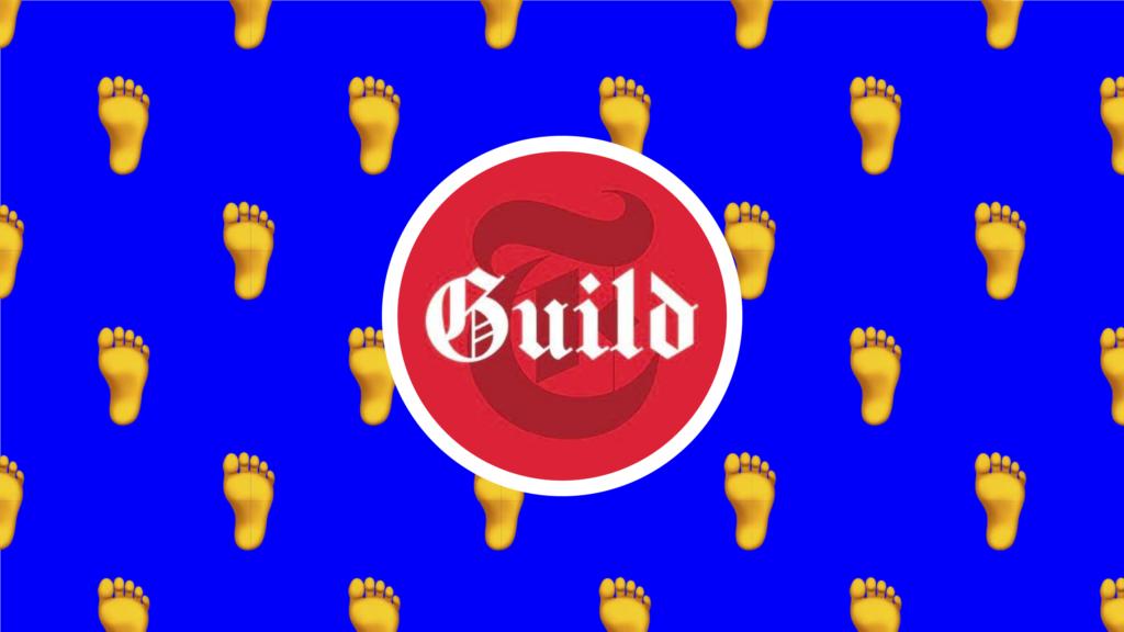 NYT Tech Guild Logo with Feet Emoji Pattern